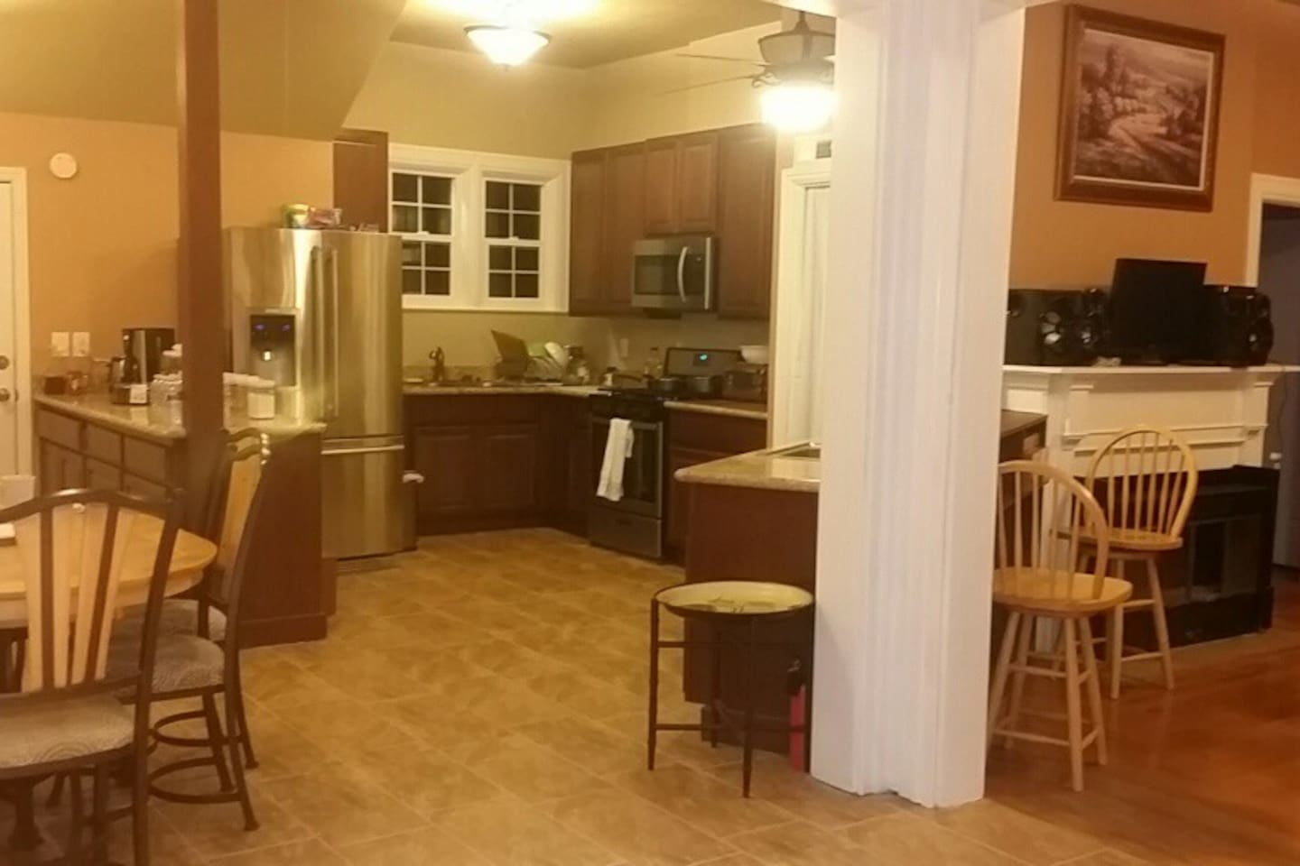 Beautiful, fully-stocked kitchen for your use. Breakfast is provided--You're welcome to cook all your meals here as well.