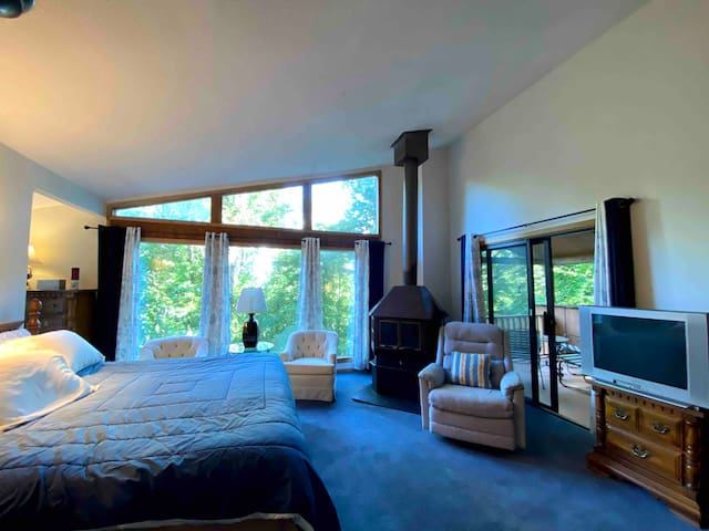 Master Bedroom Suite on Second Floor with King size Bed, TV, Fireplace, full Bath and outside Porch