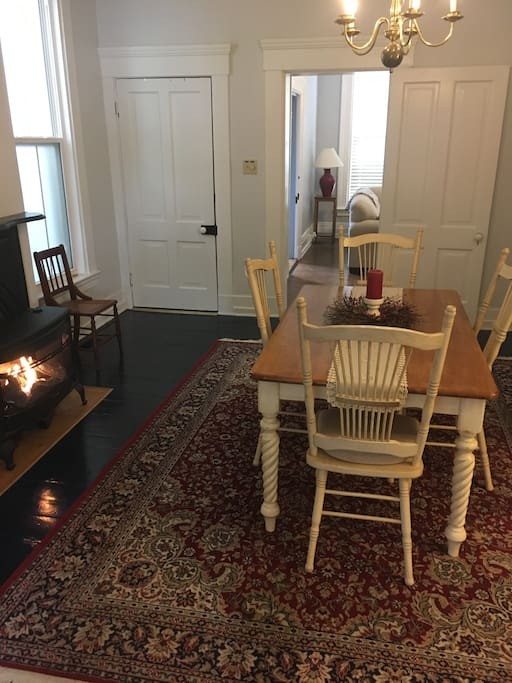 Dining room with a gas heating stove
