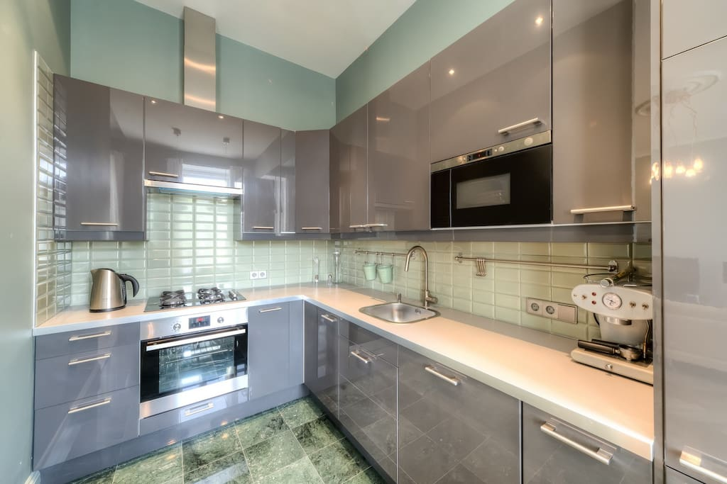 Nice kitchen with oven and good vent.
