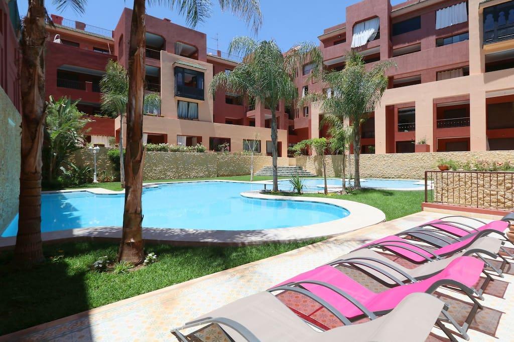 Les abords de la piscine sont agrémentés d'un jardin planté de palmiers. A votre disposition, transats et parasols / Palm trees and longchairs in the lovely and quiet garden. Relax!