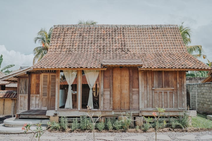 Modern Rustic Wooden House Ricefield w Sunset