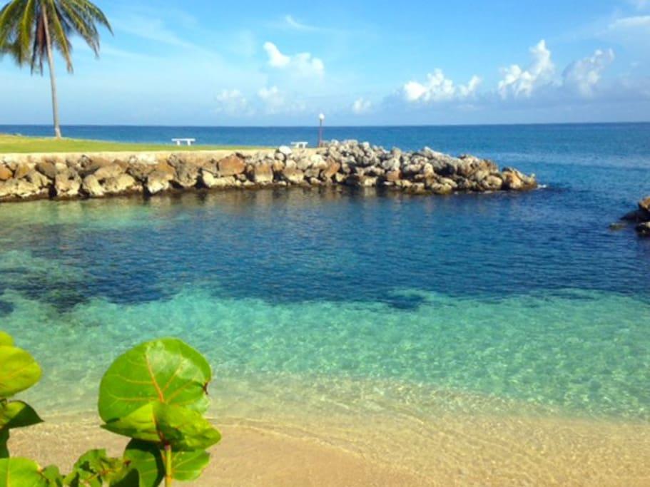 Beach Cove at Sea Palms..warm blue Caribbean Sea