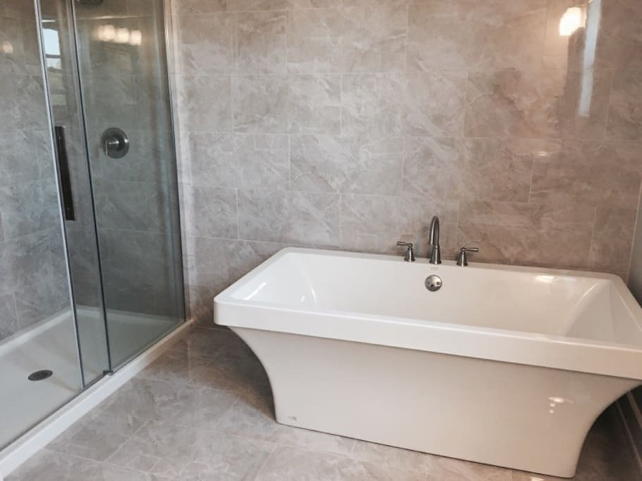 Soaker tub and rain head shower with beautiful heated tile floor.