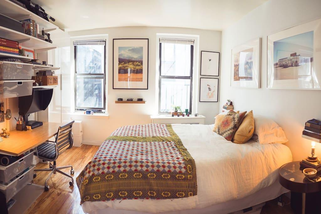 Large, sun filled bedroom