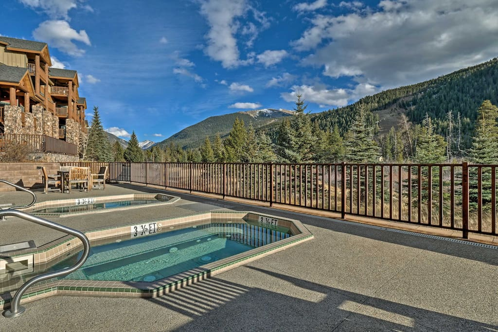 Enjoy mountain views from the community hot tub.