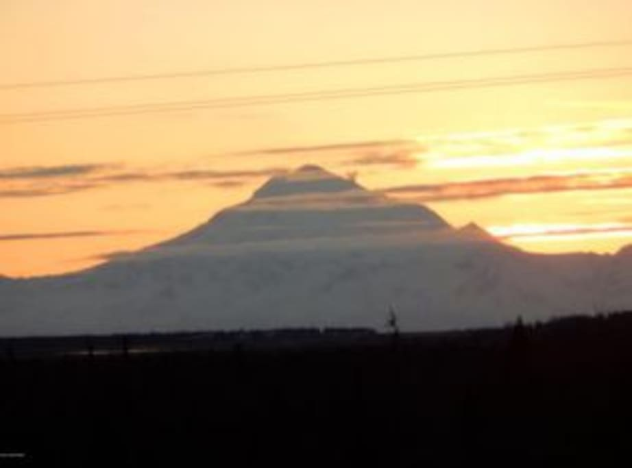 Enjoy a gorgeous view of Mt. Redoubt from the main floor