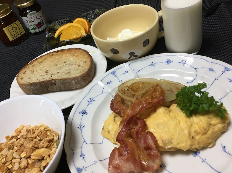 If you want breakfast, we offer a western style Full breakfast(add cost 1500yen)