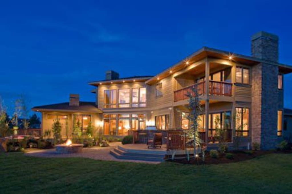You have amazing views off the back deck and balcony.  Enjoy the water feature and the large hot tub