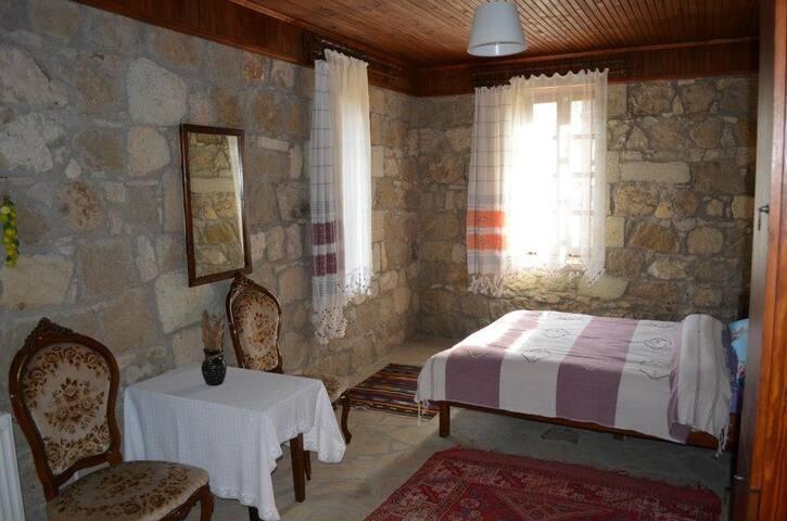 Adatepe köyü merkezinde asırlık çınarın karşısında