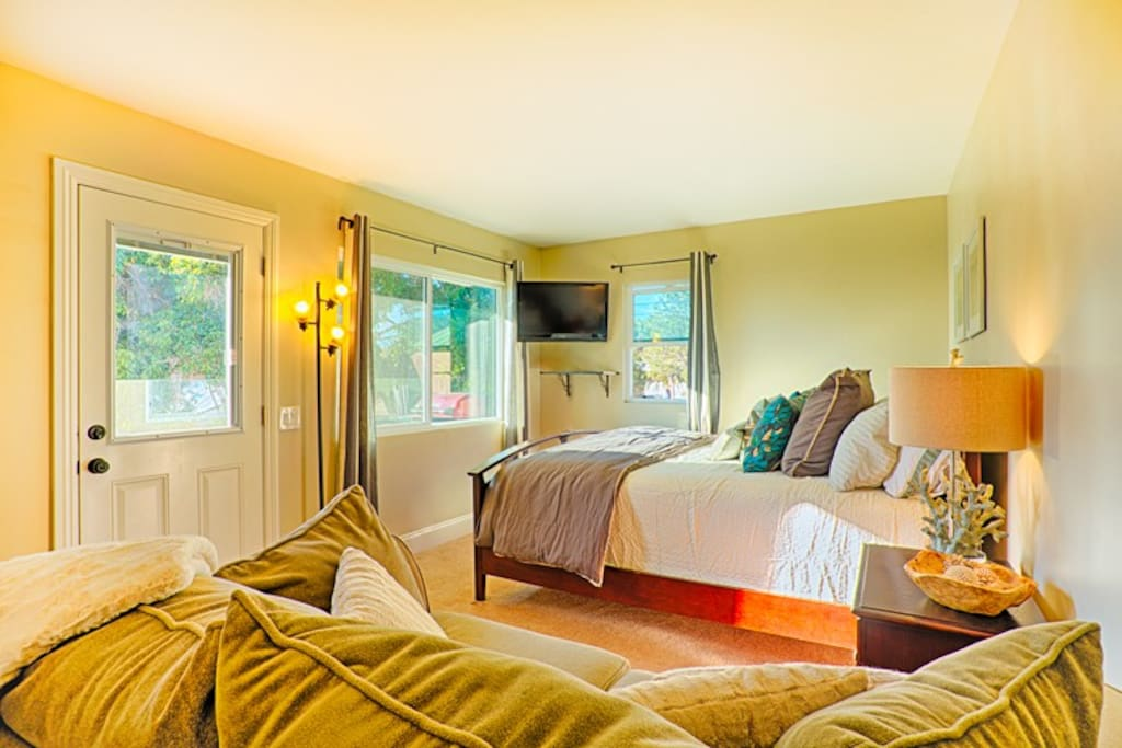 Sunny, bright home offers ample sleeping and lounging space.