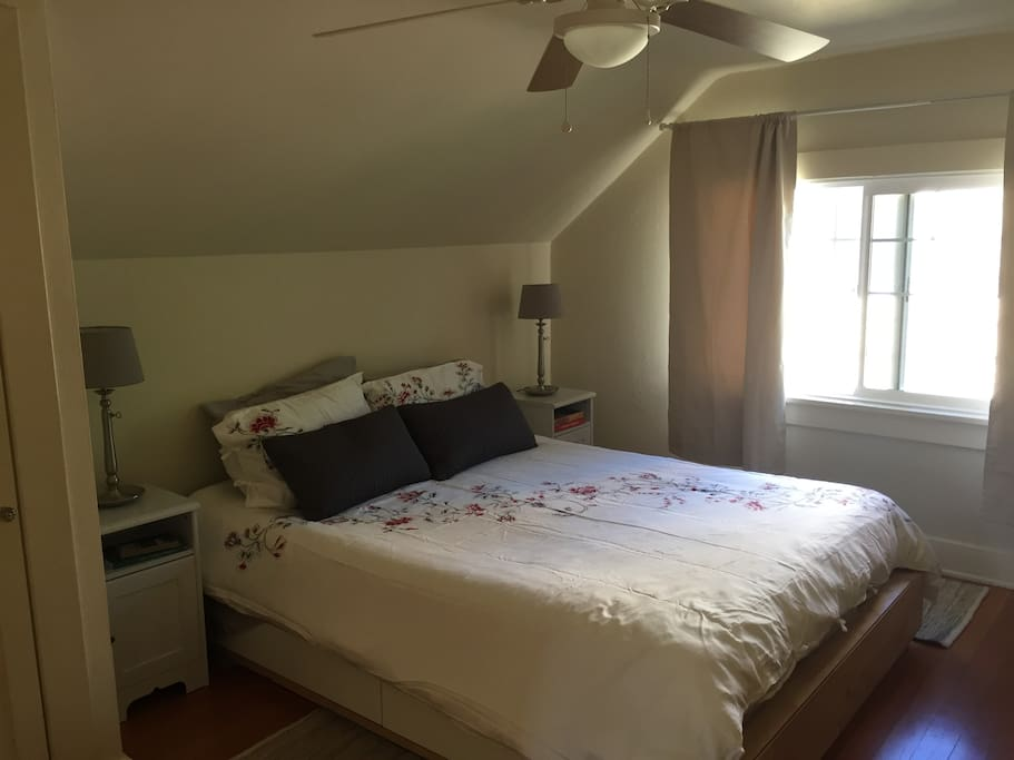 This is the upstairs bedroom with a queen size bed