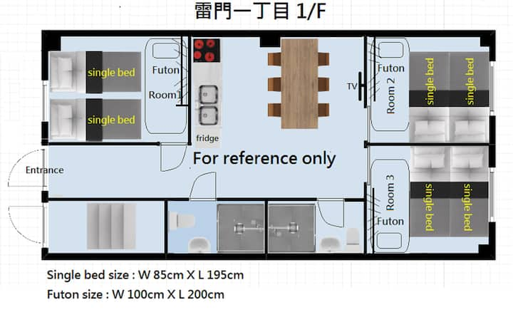 一樓三房六床二廁二浴室1st  3 bedrooms 2 bathrooms with toilet