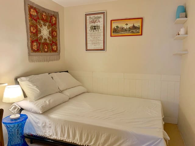 Double size bed and double size pull up bed to accommodate 4 people.