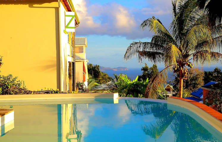 Beautiful roof top with pool and sea view in the background ***