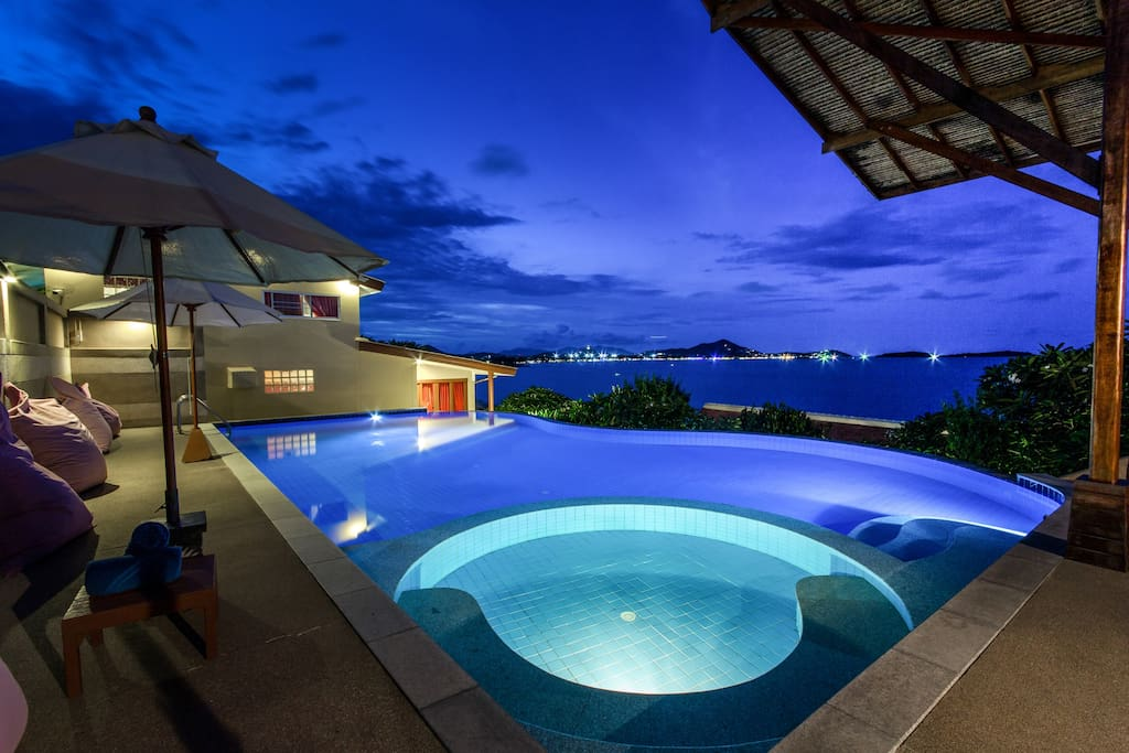 Our beautiful infinity pool at dusk.