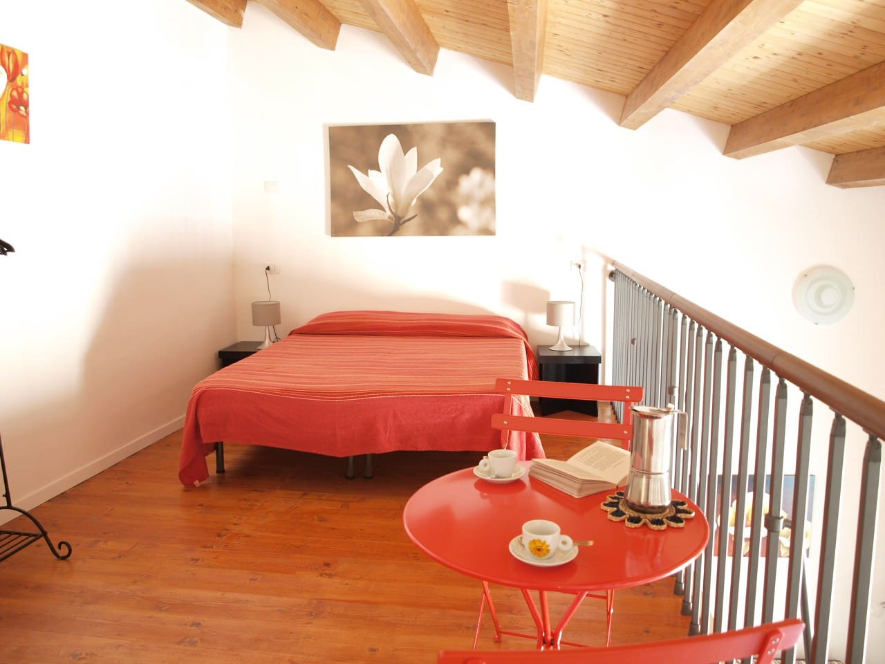 the bedroom in the mezzanine with double bed convertible in two single beds if you prefer it!