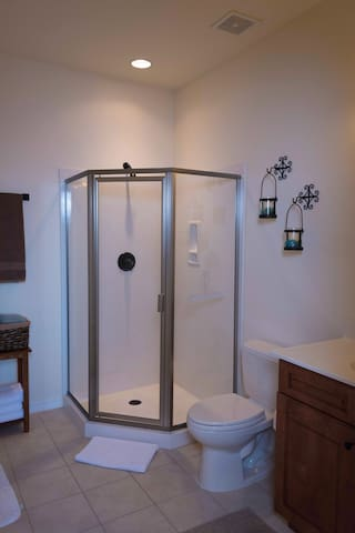 Guest Bathroom has a stand up shower a single sink and a closet.