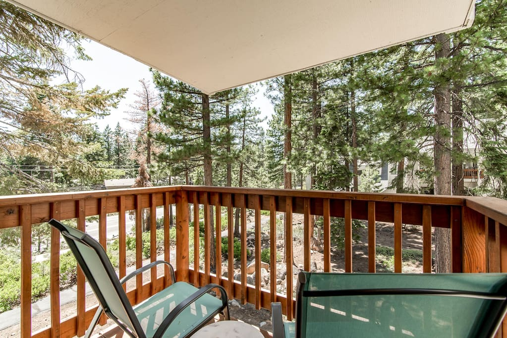 Enjoy serene wooded views from your balcony.