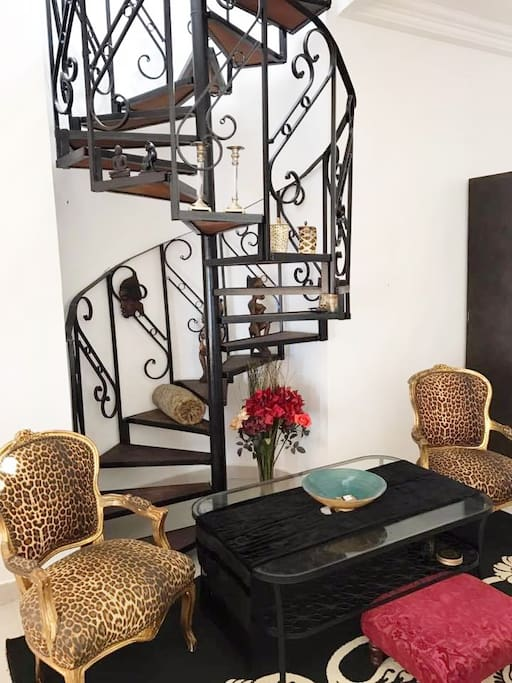 The Spiral Staircase  leads up to your own private Rooftop Terrace