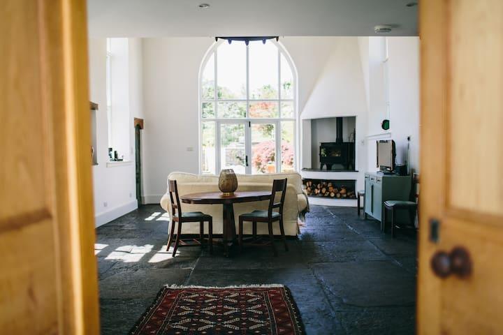 Through the door ........