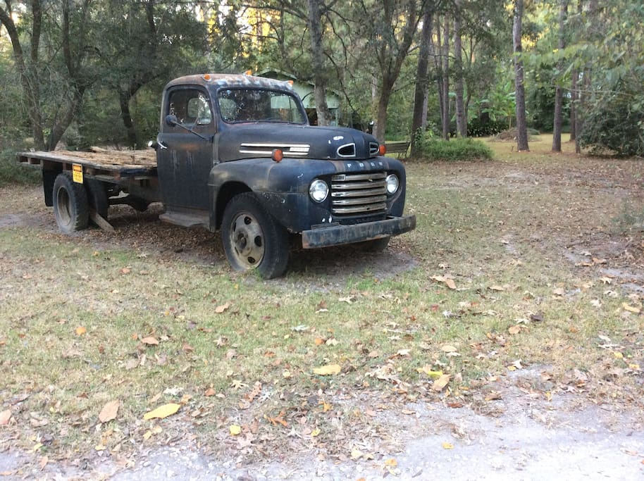 1953 Ford Farm Truck on Property in front yard of The Cottage at Cypress Grove