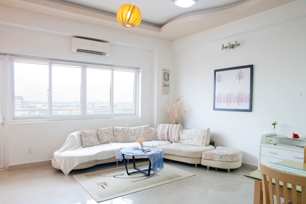 Unit 1 - City View Penthouse on 15th floor: Our spacious and modern living room makes a hangout place