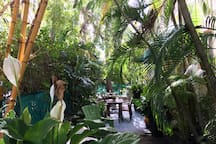 Our beautiful garden is always open! It's a wonderful space to enjoy your breakfast in the morning or drink a glass of wine at night.