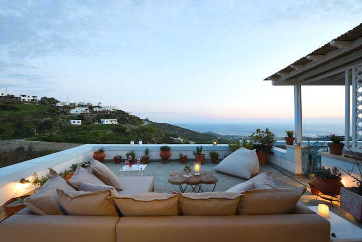 Pano Spiti - Artful Home with sea view