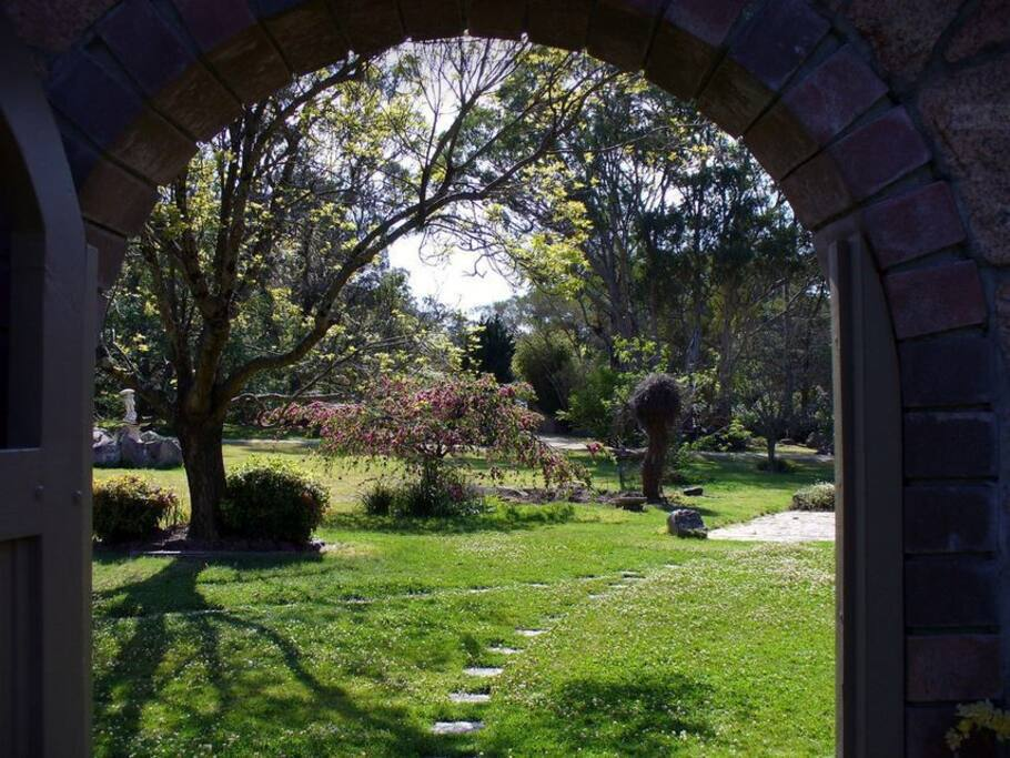 Main front garden as seen through the cottage gate