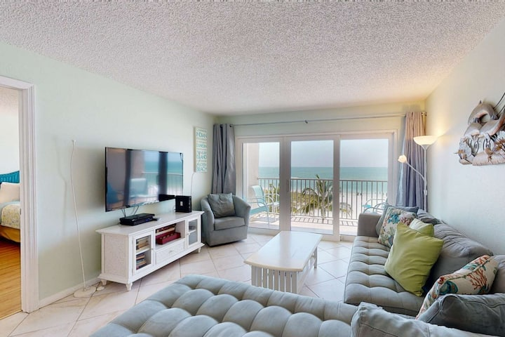 Directly on the beach and directly across from John's Pass Village.  Best Location.  Best View!