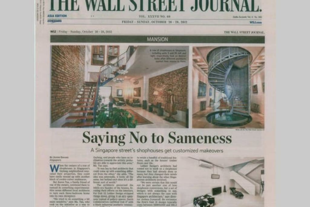 Wall Street Journal feature of our  Shophouse (featured at bottom right)