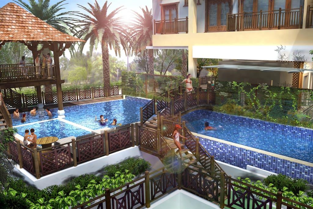 Pool area  -Jacuzzi -Gazebo -Baby Wading pool
