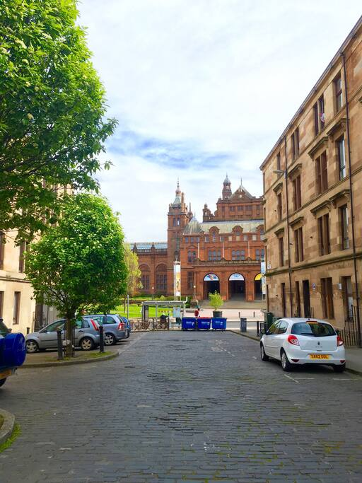 The street: no through-traffic, so quiet and peaceful in the heart of Glasgow's West End
