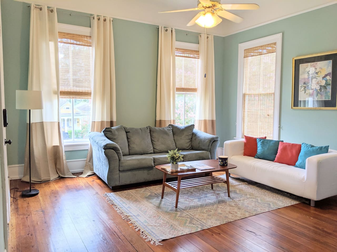 Living Room - the blue couch is the sleeper sofa