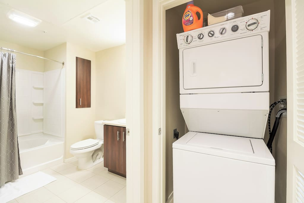 In-Flat Washer + Dryer (Detergent & Dryer Sheets Included)