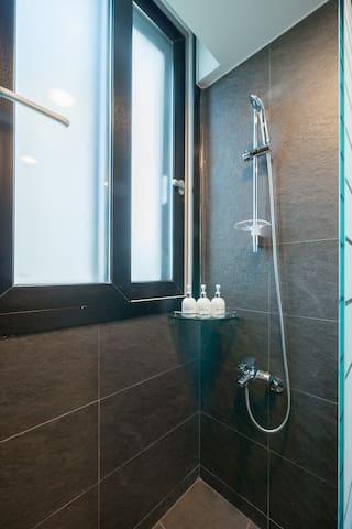 Shower booth & handmade shampoo & conditioner