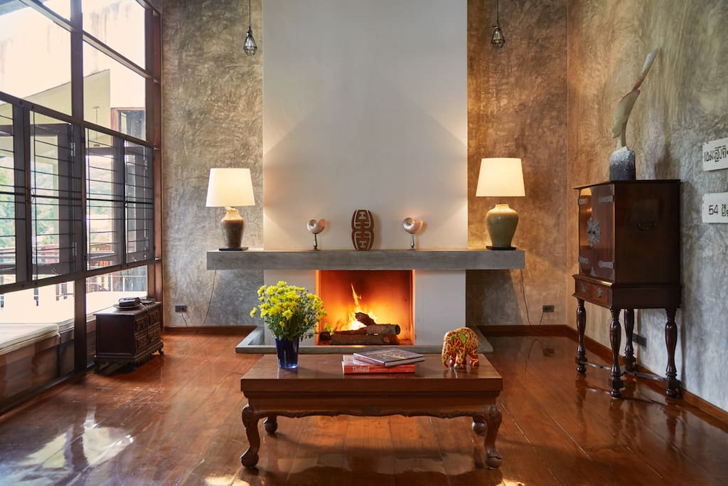 Roaring fireplace for winter nights