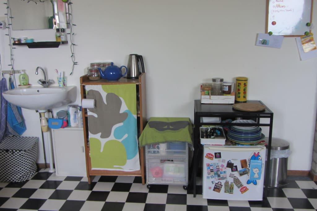 Wastafel, waterkoker, koelkast in de slaapkamer.
