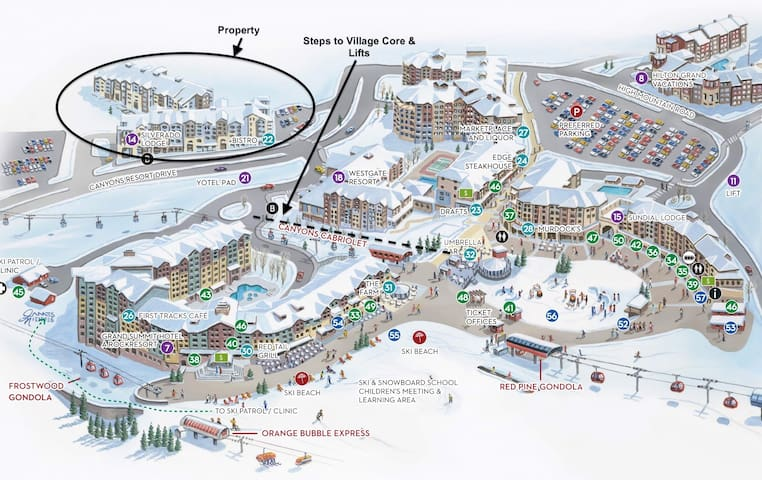 enjoy staying just steps away from the heart of canyons village and skiing