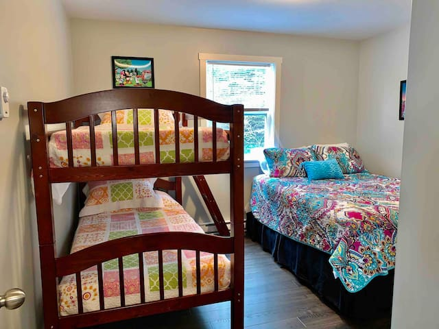 Bedroom no 2 with queen Size bed and bunk bed twins size.