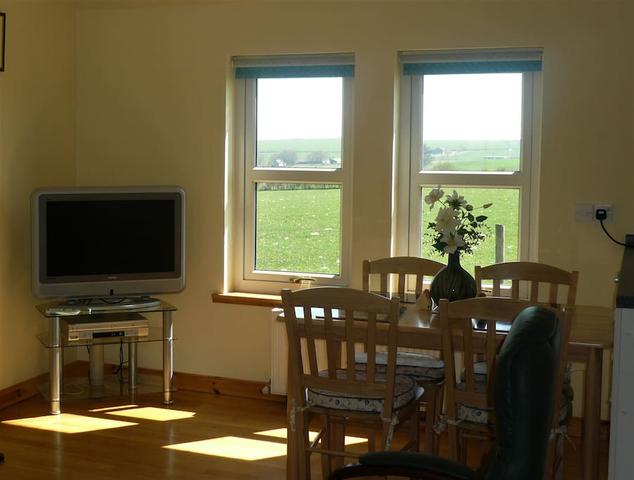 Views over countryside from dining table
