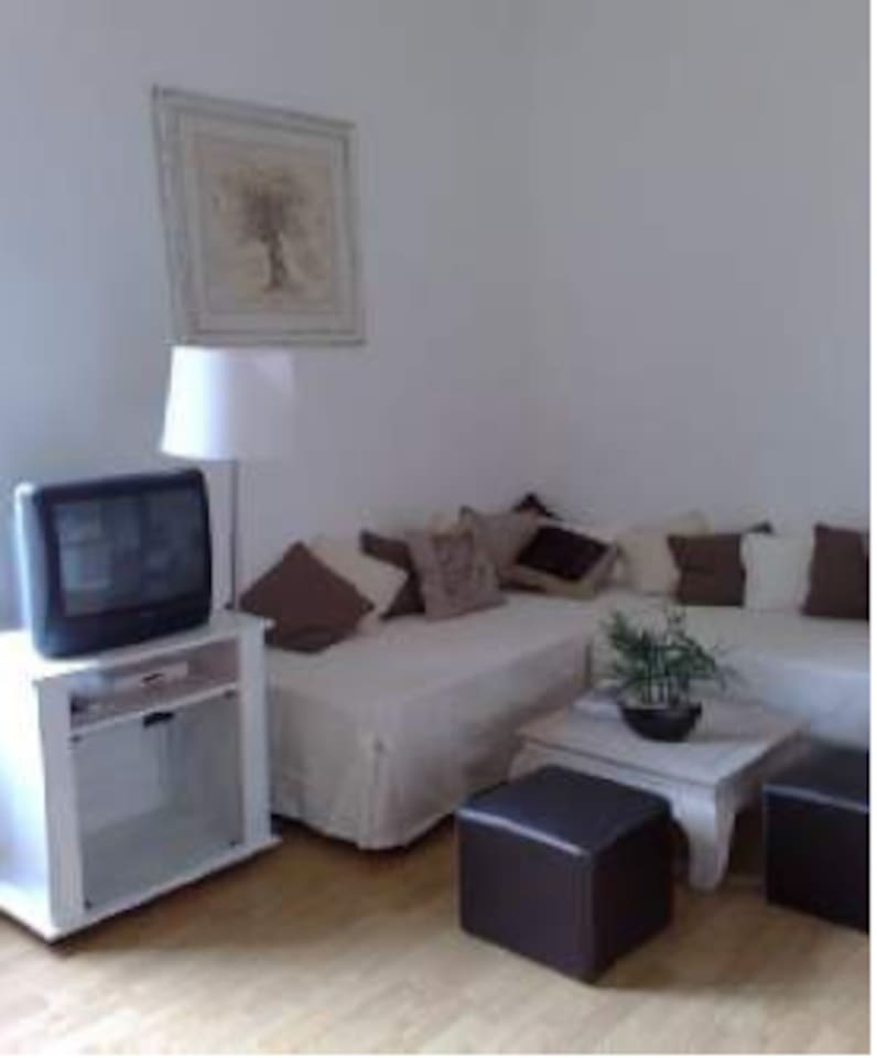 Living-room, TV including DVD player, Can be turned in 2 single beds.