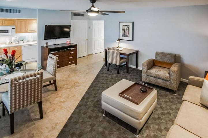 Spacious living room and dining area!