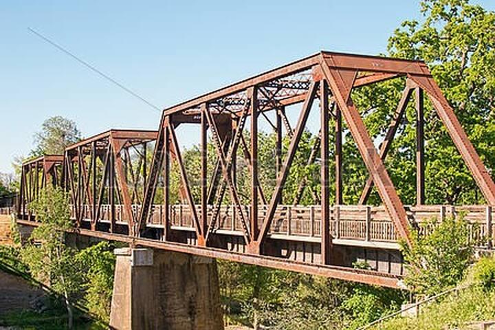 Historic 1906 Vaca Valley Railroad Bridge is two blocks away