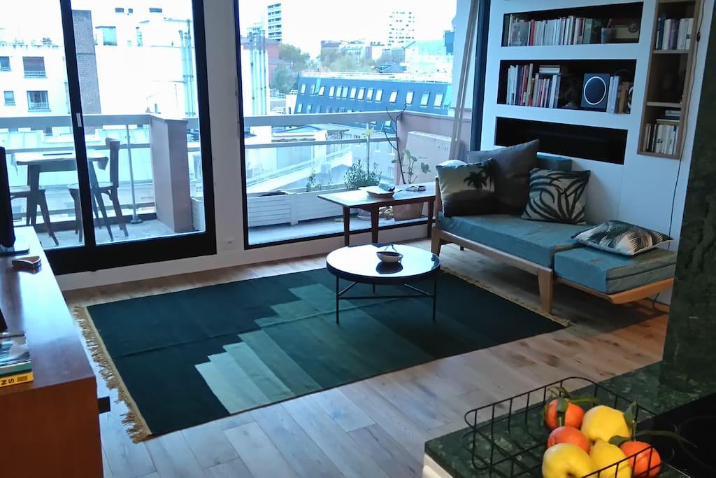 studio calme avec terrasse et vue d gag e wohnungen zur miete in paris le de france frankreich. Black Bedroom Furniture Sets. Home Design Ideas