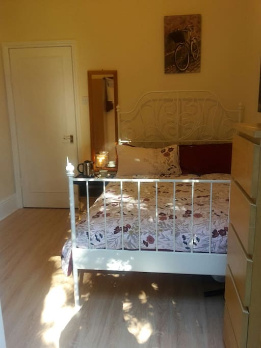 Medium size double room by British standards .