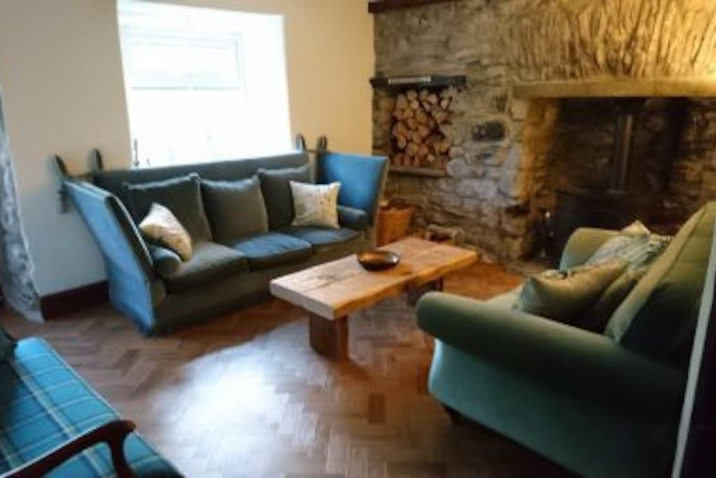 Front living room with wood burning stove