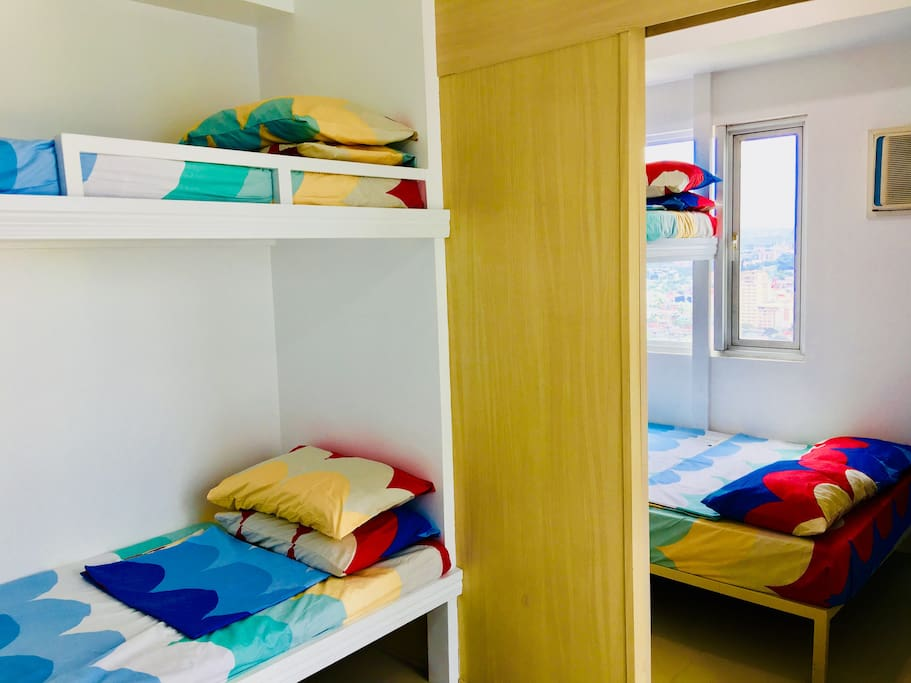 5-pax can comfortably sleep in with 1 double bed and 3 bunk beds