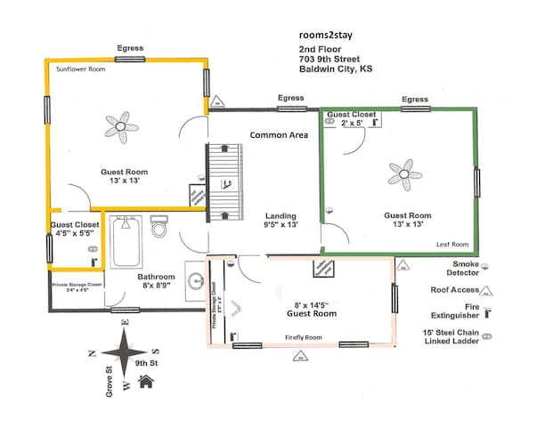 Upstairs floor plan giving you the layout of the second floor of rooms available for stay: the Leaf room (green), the Sunflower Leaf room (yellow) and the Firefly room (beige).